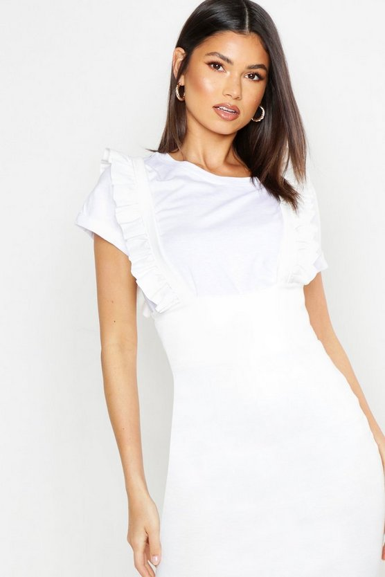 Womens White Ruffle Strap Pinafore Dress