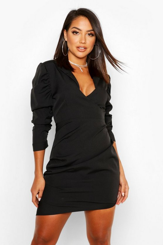 Womens Black Ruched Fitted Shirt Style Dress