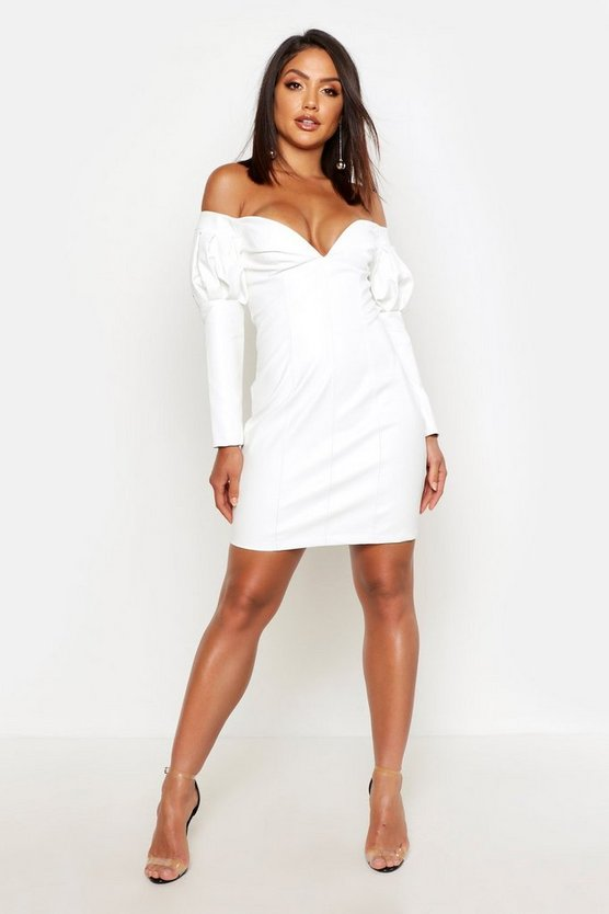Womens White Faux Leather Statement Sleeve Mini Dress