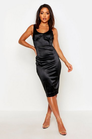 Womens Black Stretch Satin Cupped Midi Dress