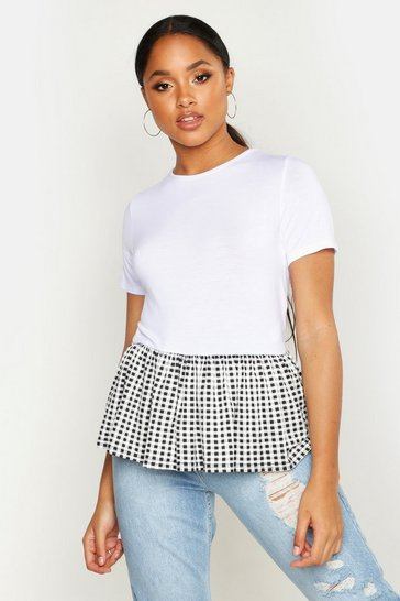 Womens White Gingham Peplum T-Shirt