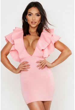 Womens Hot pink Plunge Extreme Ruffle Mini Dress