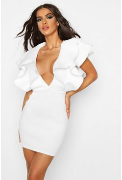 Womens Ivory Plunge Extreme Ruffle Mini Dress