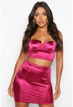 Womens Berry Satin Mini Skirt