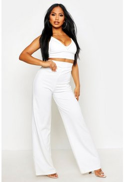 Womens White Wide Leg Trousers With Stud Detail Waistband