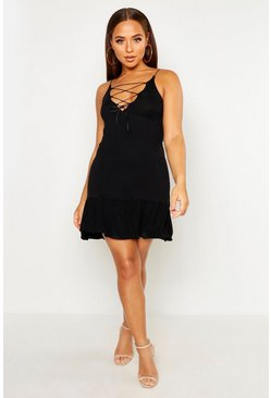 Womens Black Sundress With Lace Up Tie Detail & Frill Hem