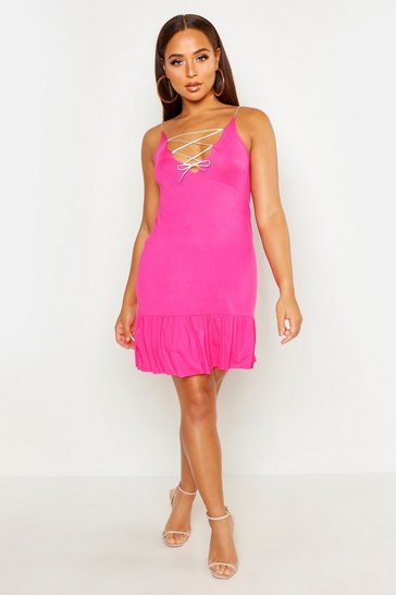 Womens Pink Sundress With Lace Up Tie Detail & Frill Hem