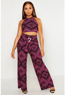 Womens Pink Geo Print Trouser With Wrap Buckle Detail