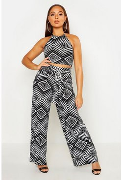 White Geo Print Pants With Wrap Buckle Detail