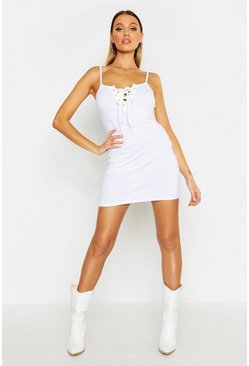 White Lace Up Eyelet Dress