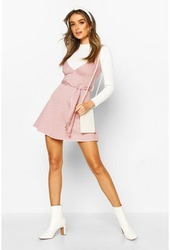 Womens Rust Pinafore Dress With Swing Skirt & Tie