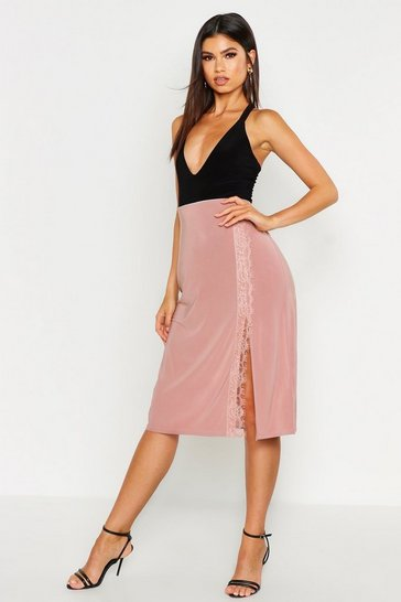 Womens Dusky pink Lace Trim Side Split Slip Midi Skirt