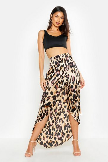 Brown Leopard Print Wrap Tie Waist Maxi Skirt