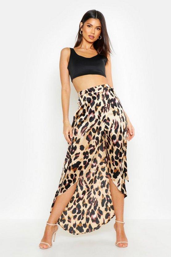 Leopard Print Wrap Tie Waist Maxi Skirt