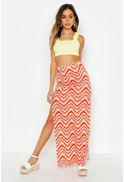Pink Aztec Side Split Maxi Skirt
