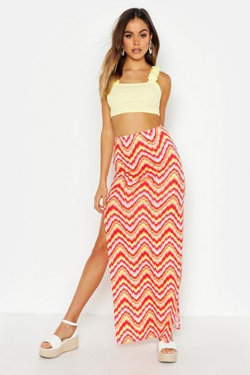 Womens Pink Aztec Side Split Maxi Skirt