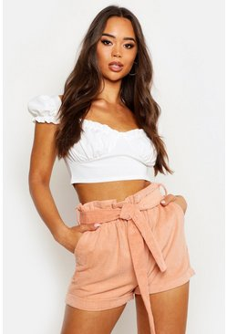 Womens Rose Baby Cord Paperbag Waist Shorts