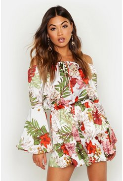 Womens Ivory Tropical Print Flute Sleeve Playsuit