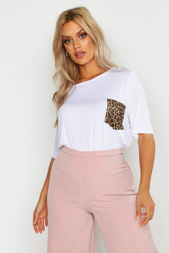 White Plus Contrast Leopard Pocket T-Shirt