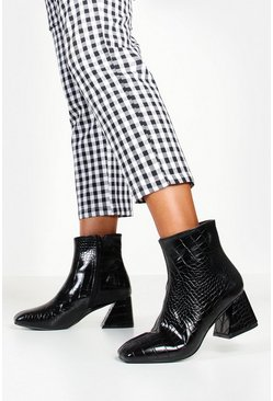 Womens Black Low Heel Flare Croc Shoe Boots