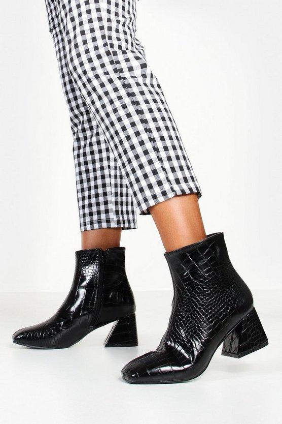 Low Heel Flare Croc Shoe Boots