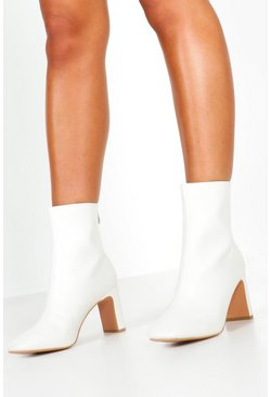 Womens White Snake Low Heel Shoe Boots