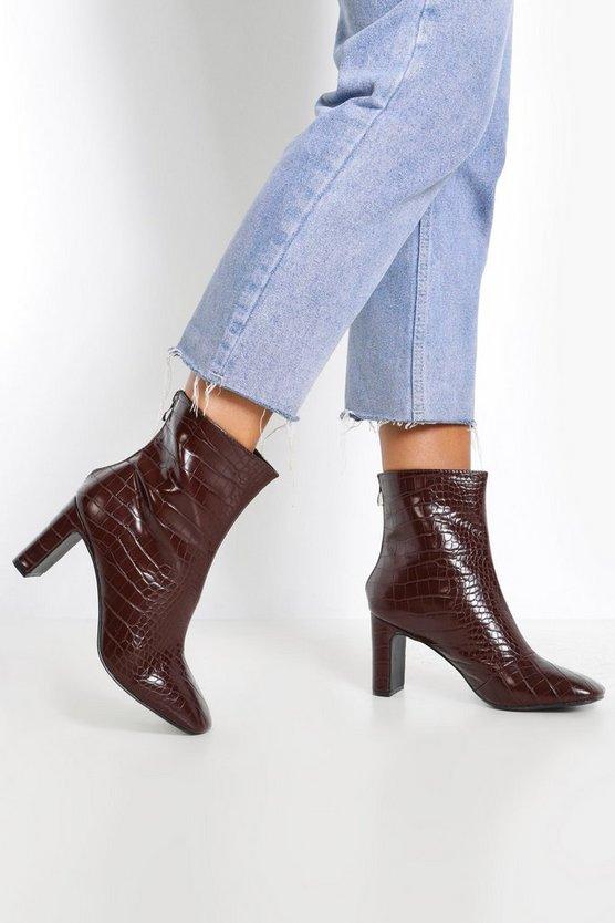Croc Low Heel Shoe Boots