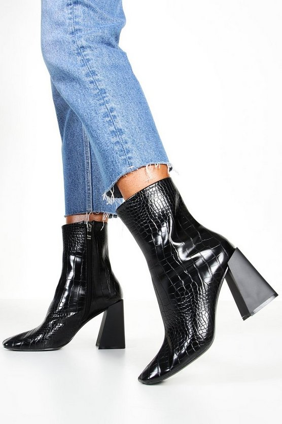 Black Croc Flared Heel Sock Boots