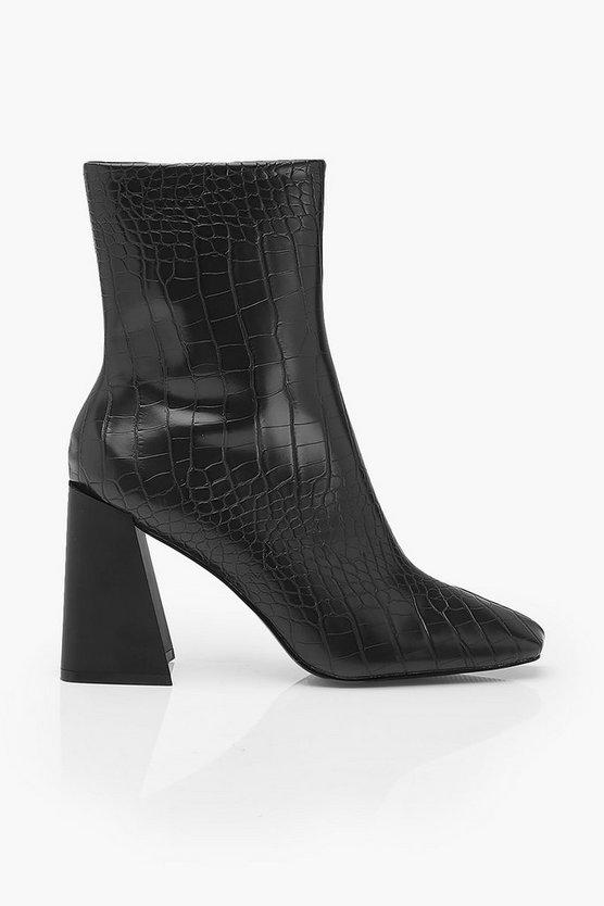 Croc Flared Heel Sock Boots