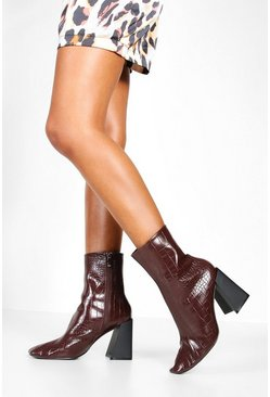 Womens Brown Flared Heel Sock Boots