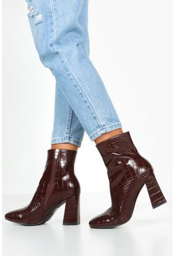 Ankle Boots mit Blockabsatz in Kroko-Optik, Braun