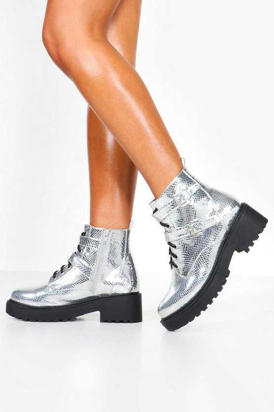 Silver Metallic Chunky Hiker Boots