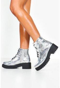 Robuste Boots in Silber-Metallic