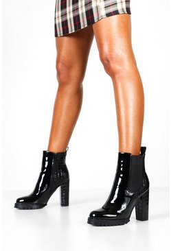 Black Patent Heeled Hiker Boots