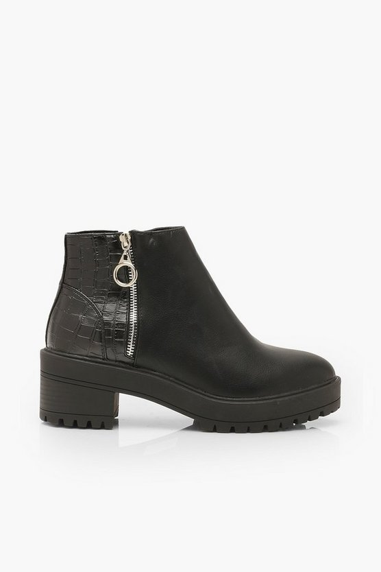 Croc Back Chunky Chelsea Boots
