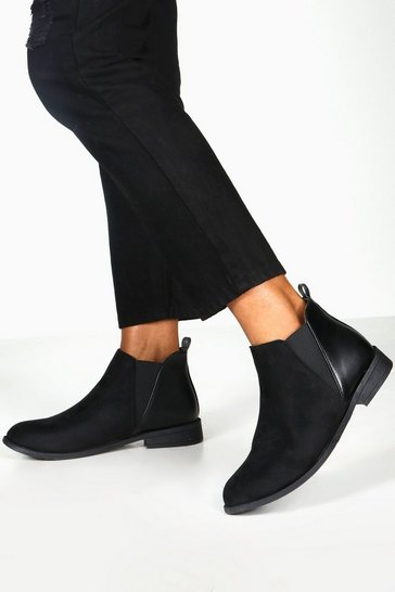 Womens Black Mixed Panel Chelsea Boots