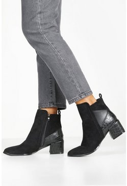 Black Croc Panel Block Heel Shoe Boots