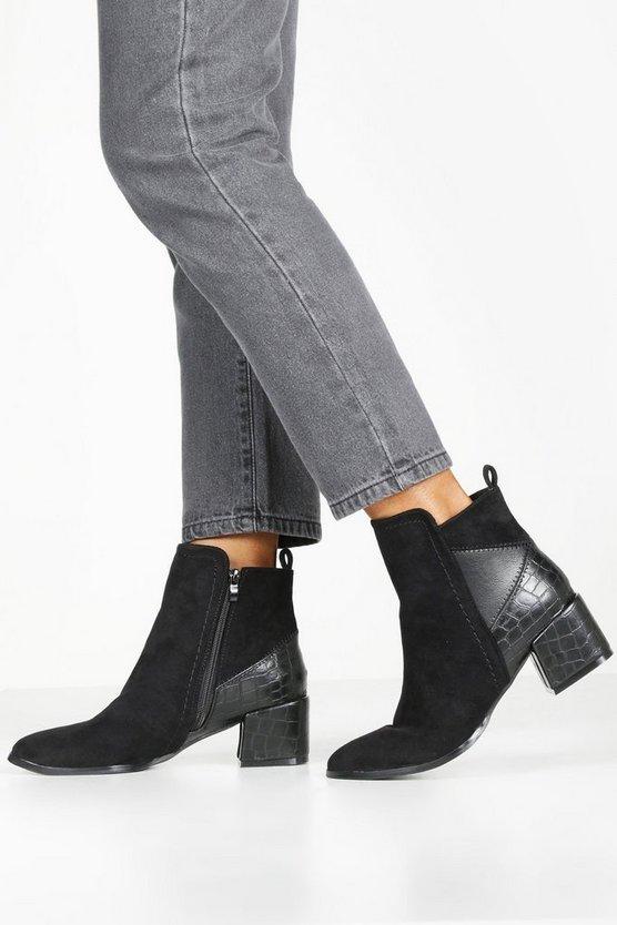 Croc Panel Block Heel Shoe Boots