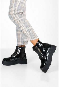 Womens Black Lace Up Patent Chunky Hiker Boots