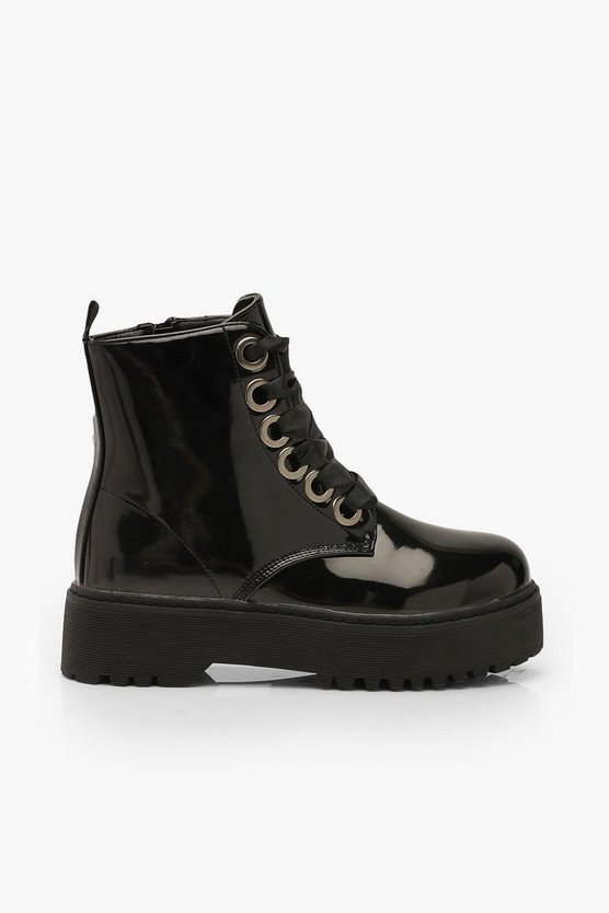 Lace Up Patent Chunky Hiker Boots