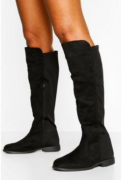 Black Wide Fit Flat Elastic Back Knee High Boots