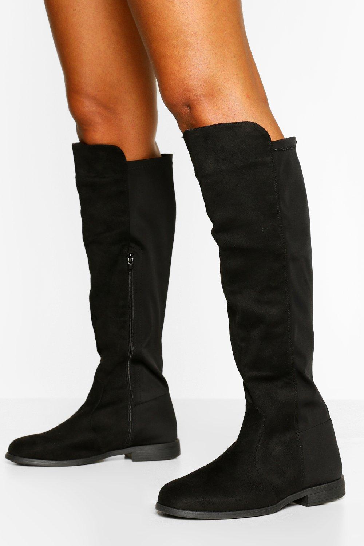 purchase cheap b4be6 120b2 Flat Elastic Back Knee High Boots   Boohoo