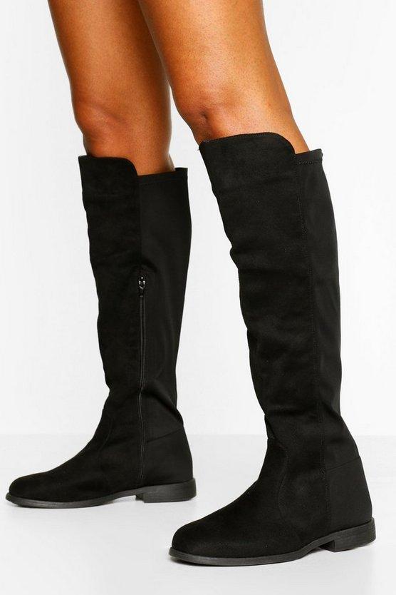 Flat Elastic Back Knee High Boots