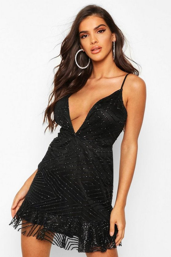 Sparkle Strappy Plunge Drop Hem Mini Dress