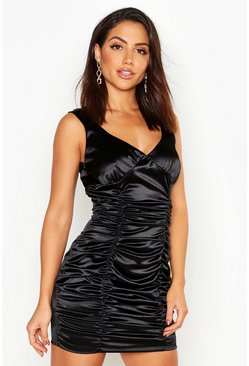 Black Stretch Satin Rouche Cupped Mini Dress