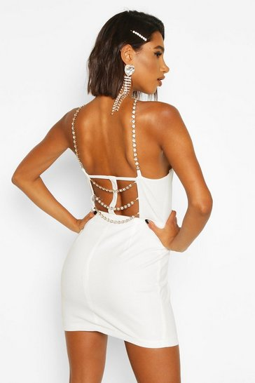 Womens Ivory Diamante Strap Back Mini Bodycon Dress