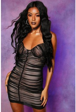 Black Mesh Rouched Cupped Mini Dress