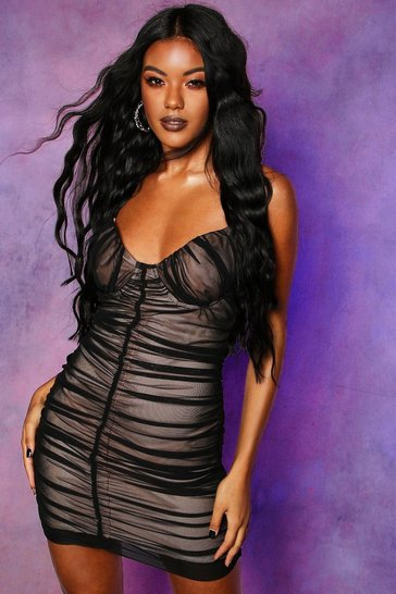 Womens Black Mesh Rouched Cupped Mini Dress