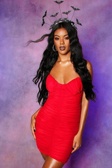 Womens Red Mesh Rouched Cupped Mini Dress