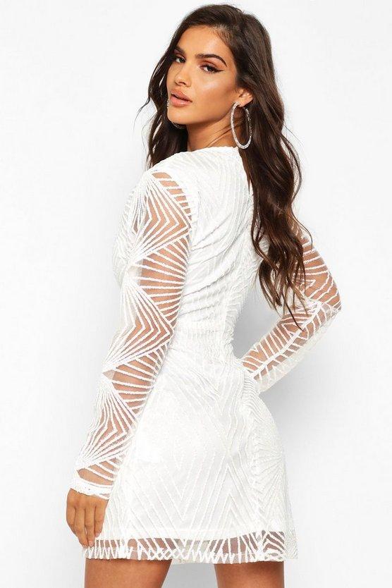 Sparkle Mesh Plunge Mini Dress